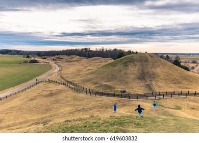 Old Uppsala - April 08, 2017 : Viking graves of Old Uppsala, Sweden