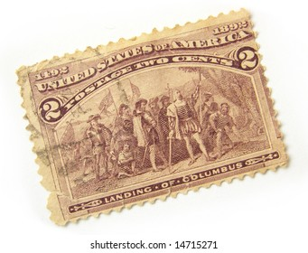 Old US postage stamp with the landing of Columbus.