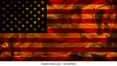 Old Usa Flag in Flames