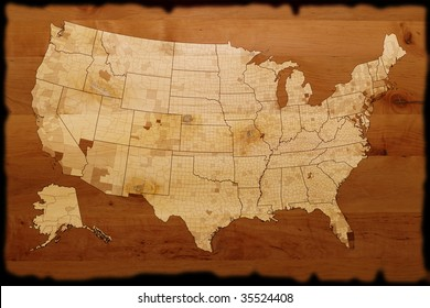 old USA map on wood texture