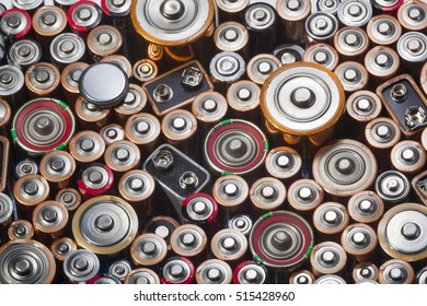 Old used batteries ready for recycling