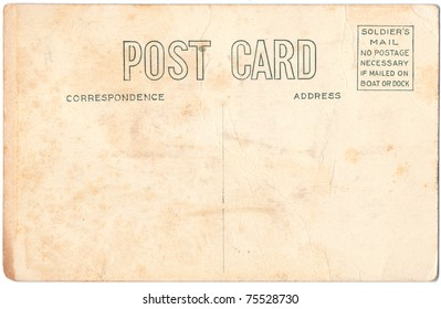 An old used blank United States of America Military postcard the reverse side. Rich stain and paper details. Can be used for background.
