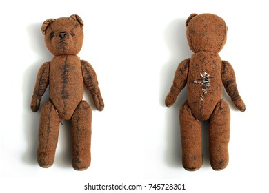 old and used brown teddy bear isolated front and back