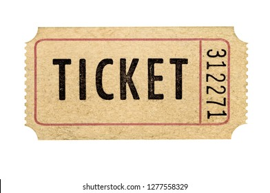 Old used brown torn ticket stub isolated