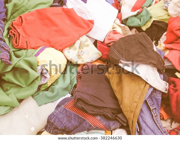 Old used clothes collection for the poor vintage