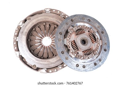 Old used clutch kit on the white background