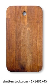 Old used cutting wooden board isolated on white background.