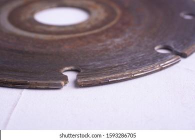 Old used diamond blade close up.