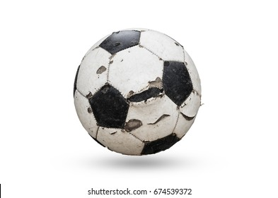 Old used football or soccer ball