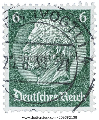 Old Used German Stamp From 27th June 1938 Year With Bismarck And Berlin