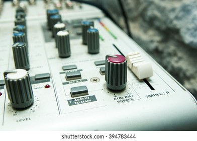 old used musical mixer closeup