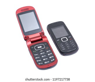 Old Used retro cell mobile phone isolated on white background
