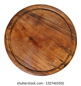 old, used, rustic wooden, round shape cutting board, isolated on white background