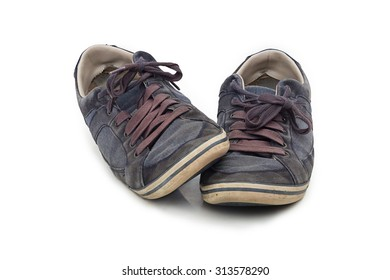 old used shoes isolated