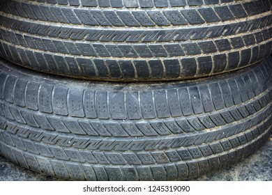 Old used Tire in Detail as Background