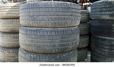 Old used tires stacked
