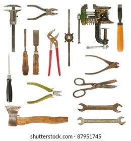 Old used tools collection isolated on white background