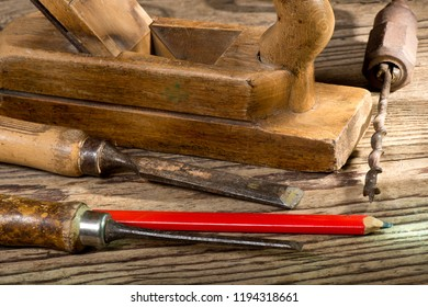 Old used tools in the joiner's shop