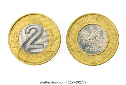 Old used two Polish Zloty coin isolated on white background. Heads and tails - both sides of polish currency money zloty.