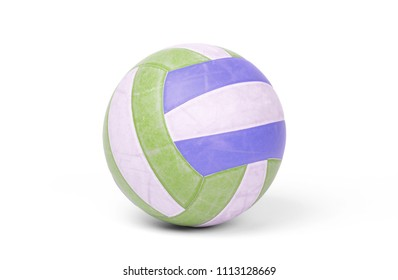 Old used volleyball isolated on a white background