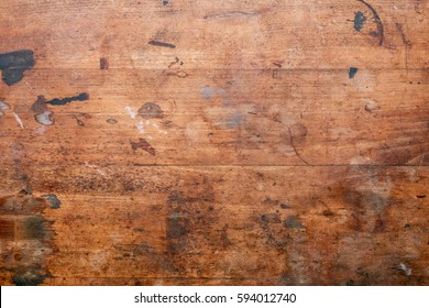 Old used wooden Surface of a workbench