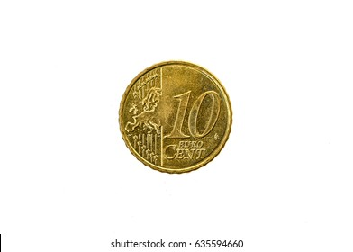 Old used and worn out 10 cents euro coin. Coin of European currency for 0,1 euro isolated on white. High resolution picture.