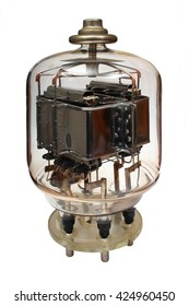 Old vacuum powerful electronic radio tube. Isolated on white background
