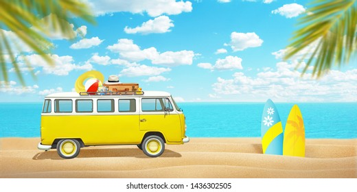 Old van and surfboards on beach sand. Concept of summer travel and enjoying the sport. Palm trees in front and sea in background.