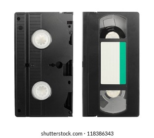 Old VCR video tape with empty label isolated on white background