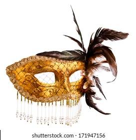 old Venetian mask isolated on  white  background