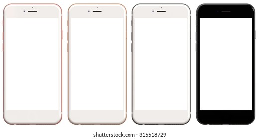 Old version set of four smartphones gold, rose, silver and black blank screen., new version available in my portfolio.