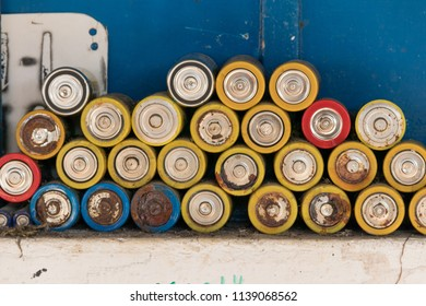 old and very aged used batteries