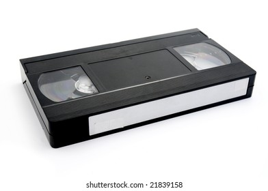 Old vhs cassette on a white background