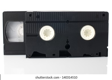 Old VHS Video tapes isolated on white background.