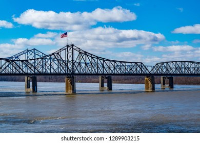 Old Vicksburg Bridge crosses the Mississippi River on the border of Mississippi and Louisiana