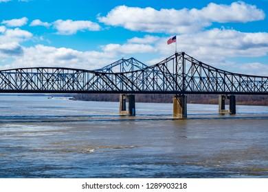 Old Vicksburg Bridge crosses the Mississippi River on the border of Mississippi and Louisiana
