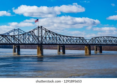Old Vicksburg Bridge crossing the Mississippi River between Louisiana and Mississippi