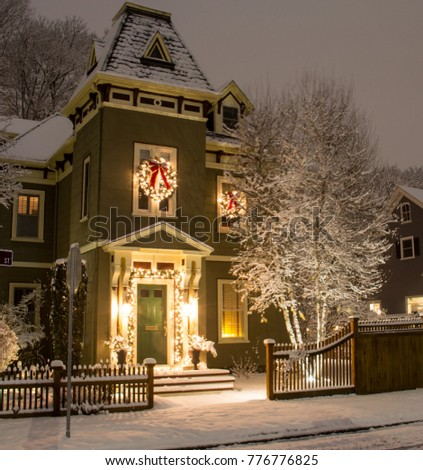 old victorian style house decorated holiday stock photo edit now
