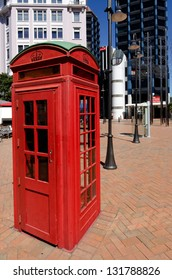 An old victorian telephone booth in Wellington, New Zealand.