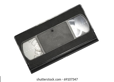 an old video cassette in black on a white background