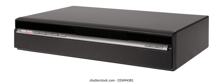 Old video cassette recorder on the white background