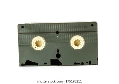 Old video tape isolated on white background