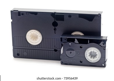 old video tapes over a white background