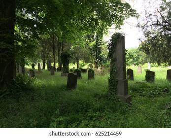 old vienna weathered graveyard wide shot