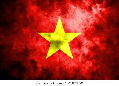 Old Vietnam grunge background flag