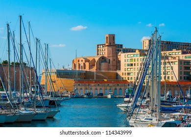 The old Vieux port of Marseille with Saint Laurent church at back