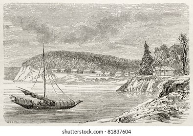 Old view of Alexandrovsk, in the Castries bay. Created by Lancelot, published on Le Tour du Monde, Paris, 1860