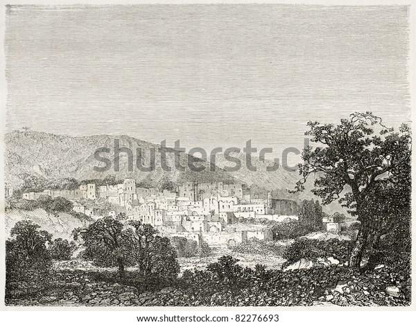 Old view of Bethlehem, Palestine. Created by Navlet after sketch of Gerardy Saintine, published on Le Tour du Monde, Paris, 1860