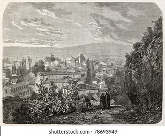 Old view of Bursa, Turkey, with mosque and sultan's Mourad grave. Created by Gaiaud, published on Le Tour du Monde, Paris, 1864
