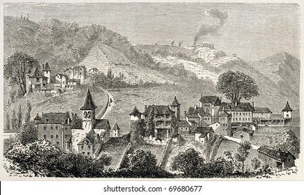 Old view of Cransac, small thermal country in southern France, Aveyron department. Original, from drawing of Forest, published on L'Illustration, Journal Universel, Paris, 1860